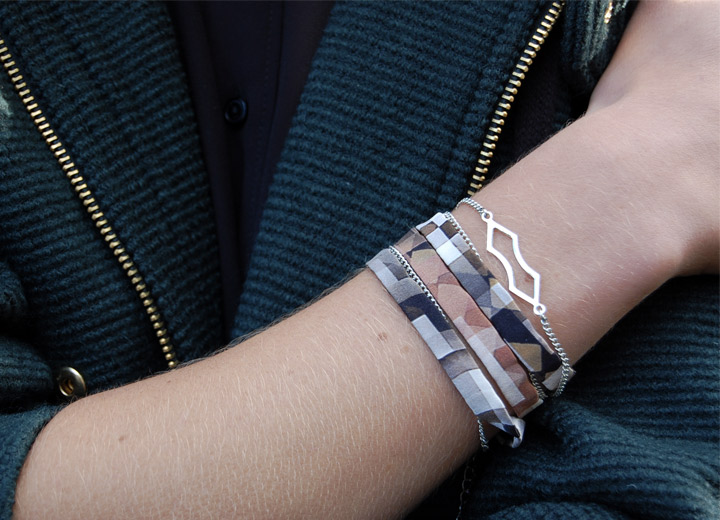 Bijou modulable soie de Lyon, bracelet – headband Alice