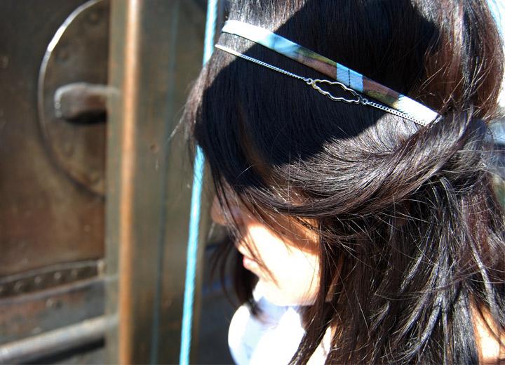 Bijou modulable en soie bracelet headband  Evie