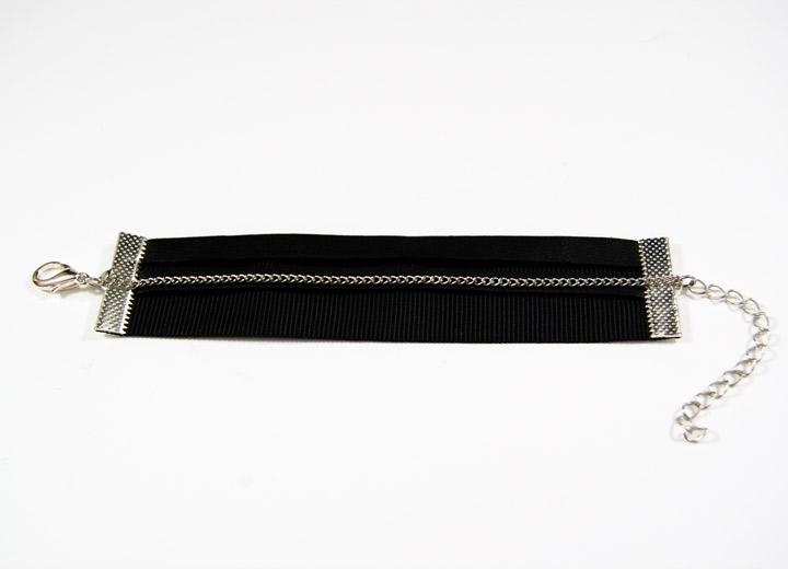 Bracelet manchette rock cuir noir Deb