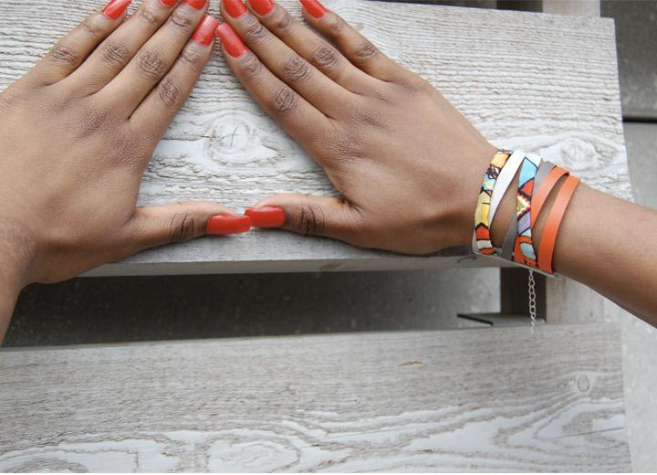 Bracelet manchette cuir et soie Olivia, bijou créateur