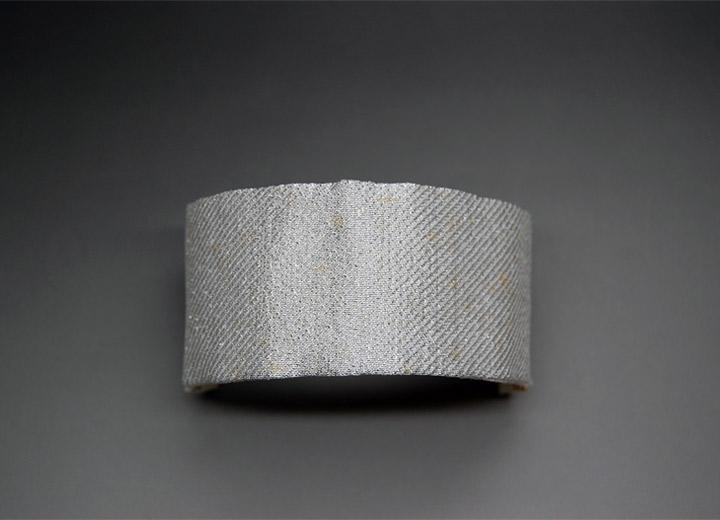 Bijou mariage bracelet manchette lamé de soie Annie