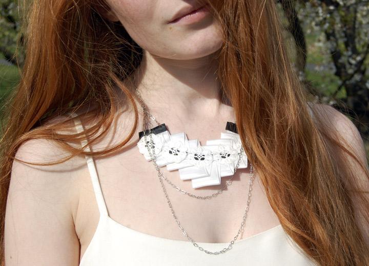 Bijou mariage design, collier plastron plissé Sambre