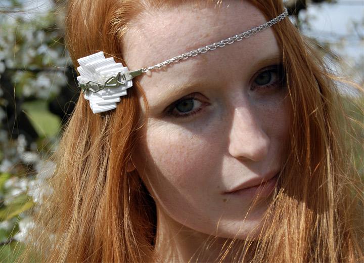 Headband blanc mariage rétro vintage Amélie