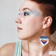 Boucles d'oreilles ethnique chic bleu corail Alejo