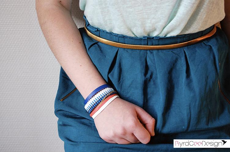 Bracelet ethnique chic bleu corail Esther