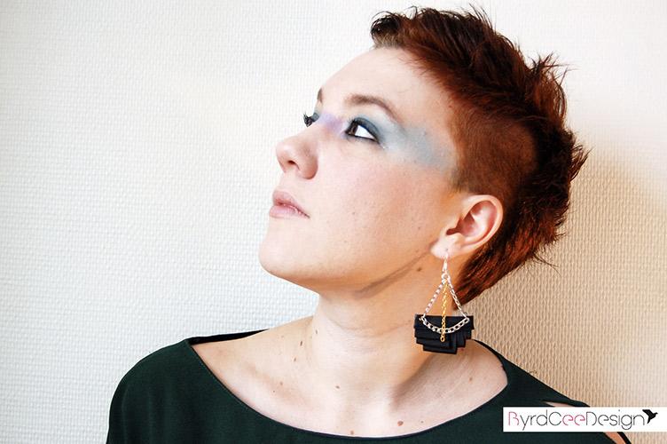 Boucles d'oreilles rock noir géométriques Joan