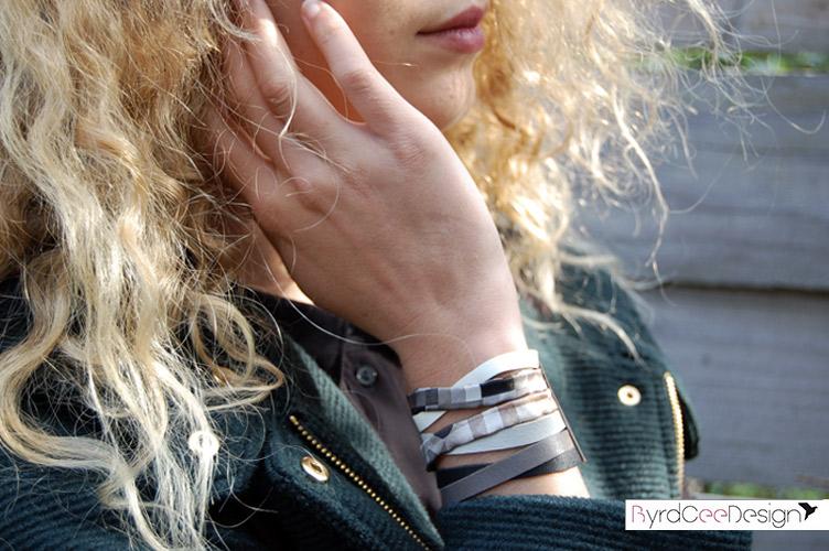 Bracelet manchette Lou, cuir et soie de Lyon