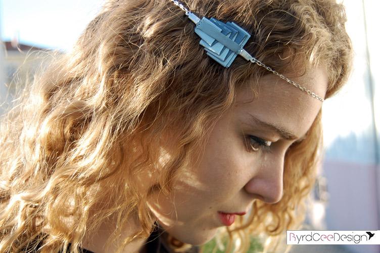 Bijou modulable en soie bracelet headband Lucie