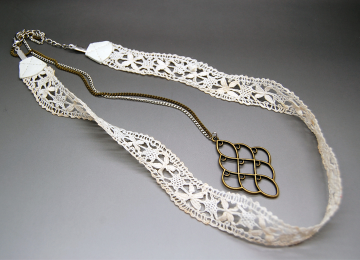 Headband dentelle bijou de dos mariage vintage Alix