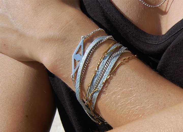 Bracelet Elliot bleu ciel modulable headband ByrdCeeDesign