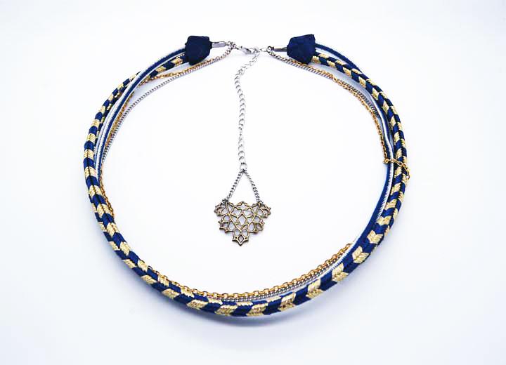 Collier Jojo modulable bijou de tête doré bleu blanc ByrdCeeDesign