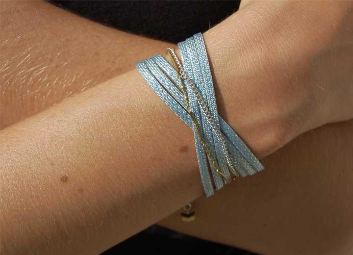 Bracelet Nour manchette bleu ciel argent ByrdCeeDesign