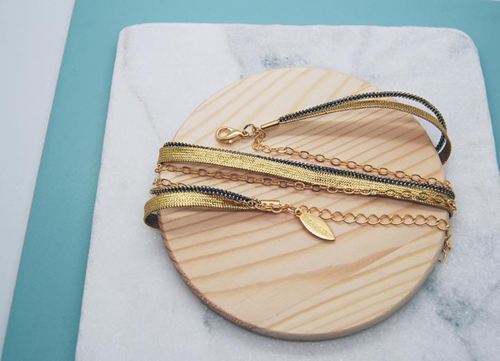 Bracelet Nour bleu nuit doré modulable L'Orangerie Bijoux