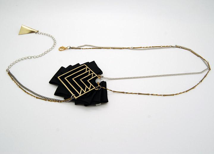 Headband Gatsby plissé noir géométrique bronze réglable