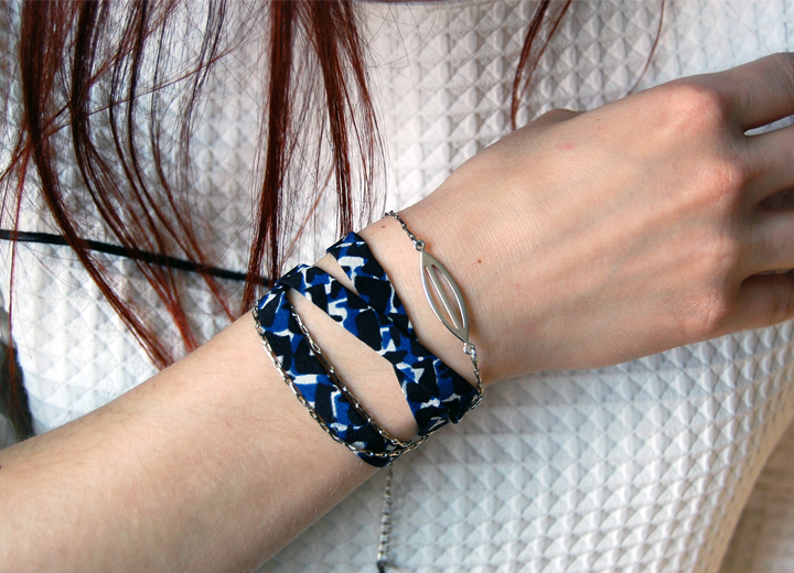 Bracelet soie Victor modulable headband  ByrdCeeDesign
