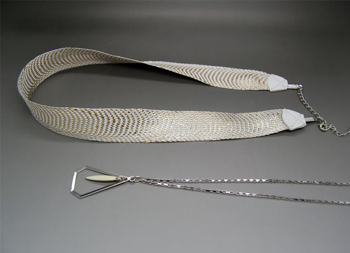 Headband mariée Betty et bijou de dos passementerie ivoire et argent