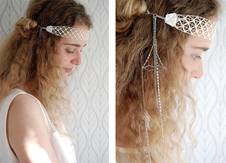 Headband dentelle mariée Soline mariage rétro ByrdCeeDesign