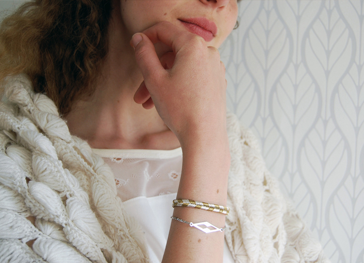 Bracelet or et argent géométrique Sigrid créateur ByrdCeeDesign