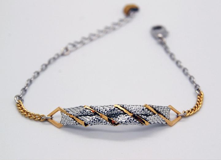 Bracelet Aaron doré or fin 24 carats et titanium passementerie argent