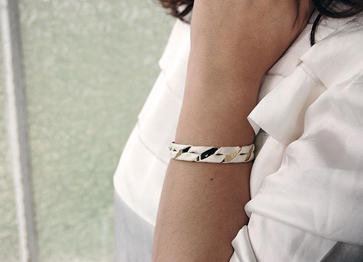Manchette Alexandre dorée or fin soie ivoire Made In France