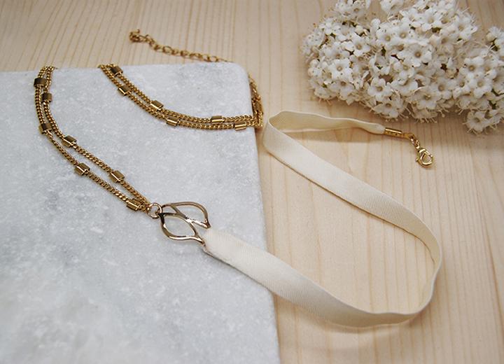 Bracelet modulable headband Hélène doré or fin soie ivoire