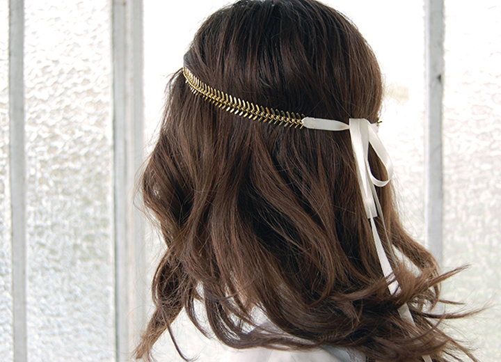 Headband mariage Olympe or fin ivoire ByrdCeeDesign