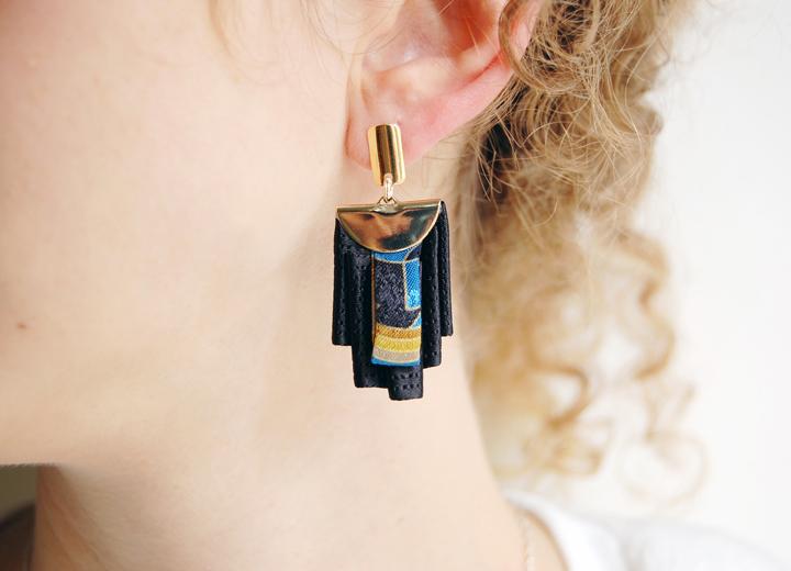 Boucles d'oreilles Alvaro soie noir et or L'Orangerie Bijoux
