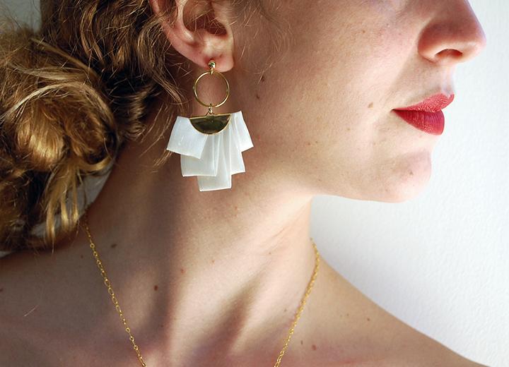Boucles d'oreilles Ange soie ivoire et or L'Orangerie Bijoux