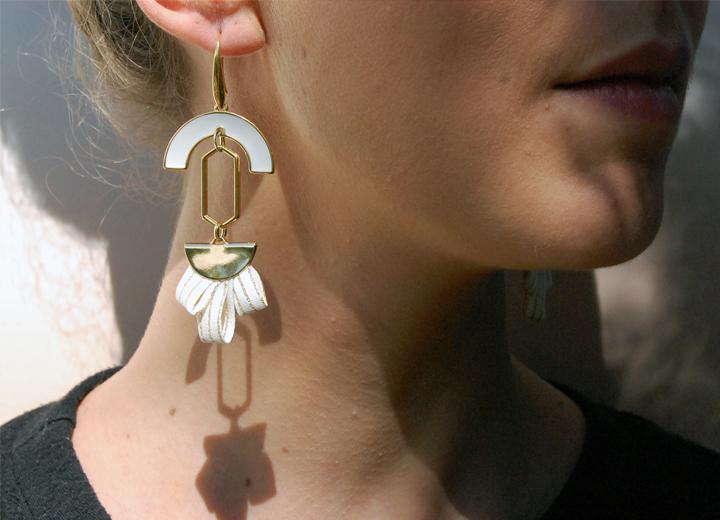 Boucles d'oreilles Diana soie ivoire et or L'Orangerie Bijoux