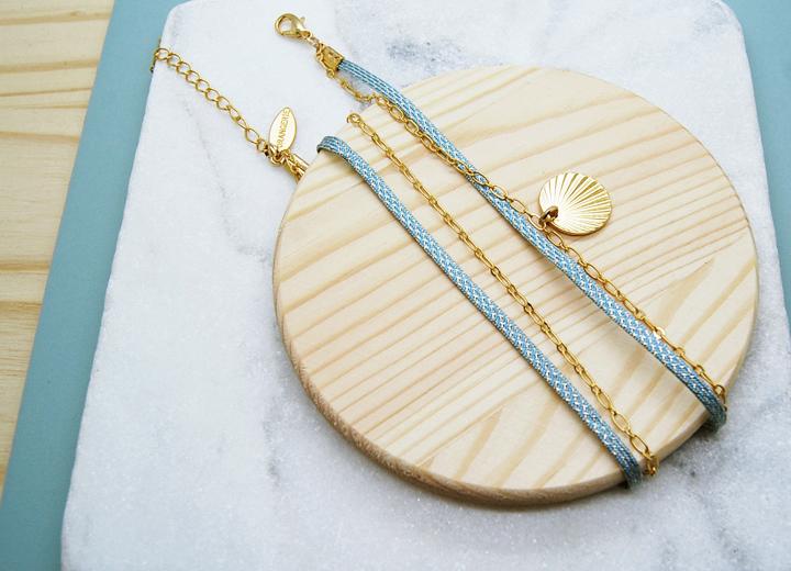 Bracelet Elliot bleu doré modulable L'Orangerie Bijoux