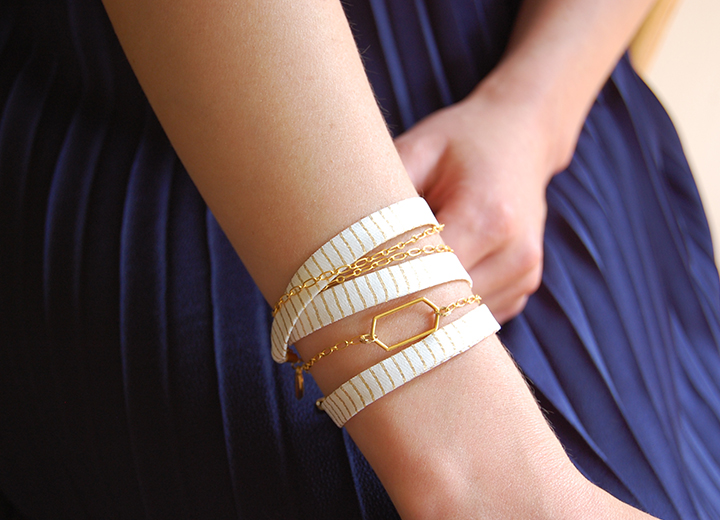 Bracelet Eos soie ivoire et or  modulable L'Orangerie Bijoux