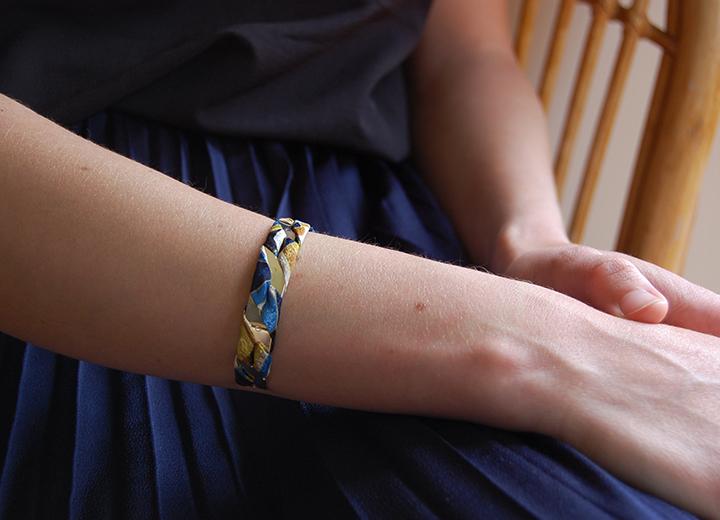 Bracelet jonc Ercole soie or Made In France L'Orangerie Bijoux