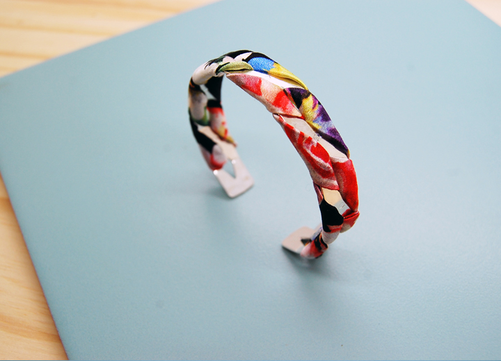 Bracelet jonc Marceau argent soie fleurie Made In France L'Orangerie