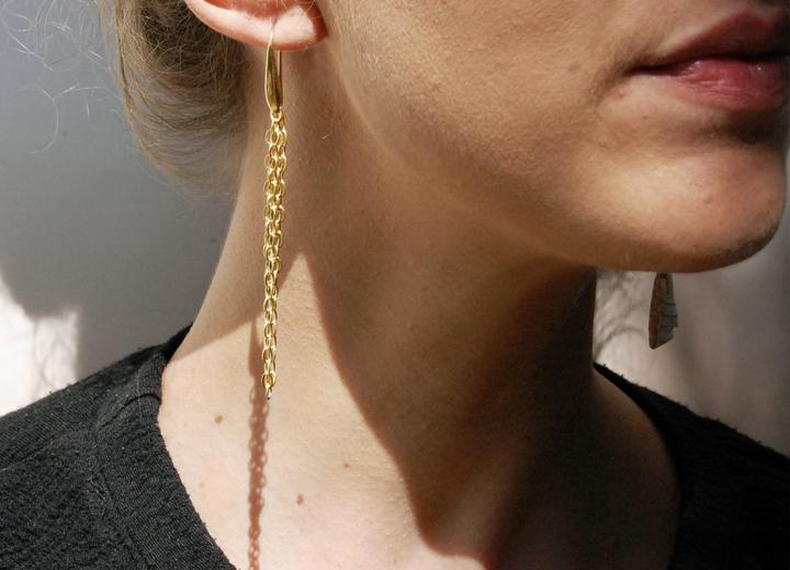 Boucles d'oreilles asymétriques Jacinthe soie made in France L'Orangerie