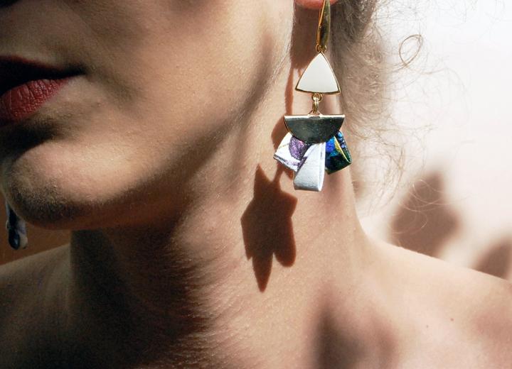 Boucles d'oreilles Lys soie bijou made in France L'Orangerie Bijoux
