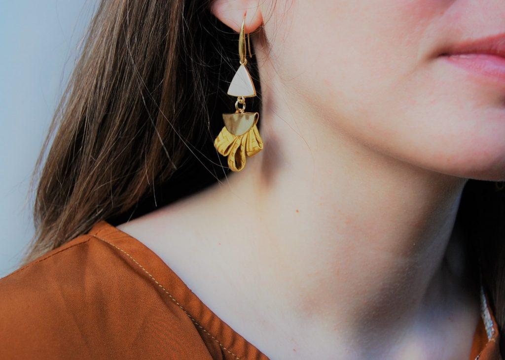 Boucles d'oreilles Amir soie bijou made in France L'Orangerie Bijoux