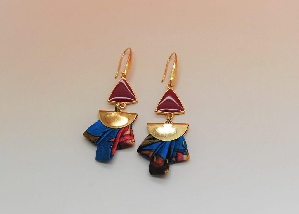 Boucles d'oreilles Anis soie bijou made in France L'Orangerie Bijoux