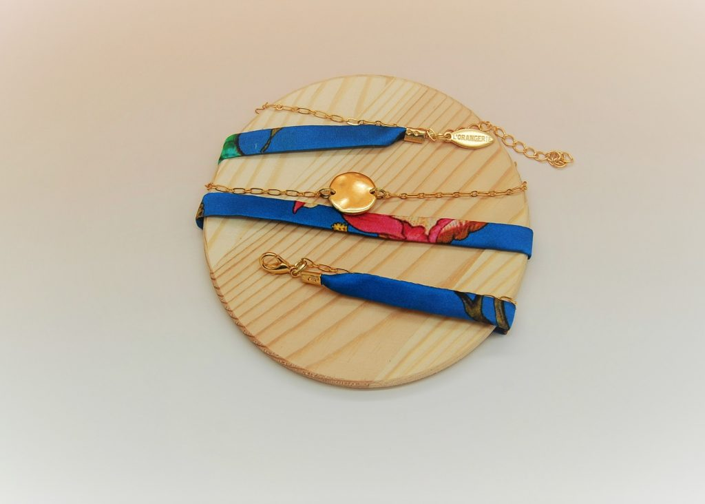 Bracelet soie Dina modulable made in France L'Orangerie Bijoux