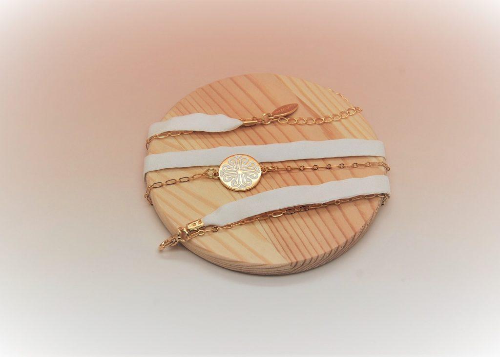 Bracelet soie Inès modulable made in France L'Orangerie Bijoux