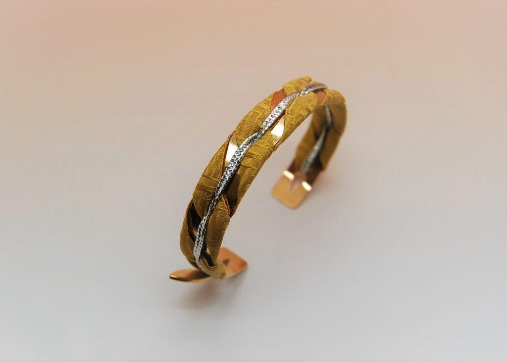Bracelet jonc Issa soie jaune safran made in France L'Orangerie