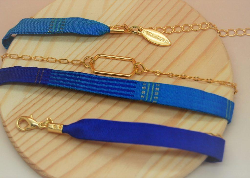 Bracelet soie Lotfi modulable made in France L'Orangerie Bijoux